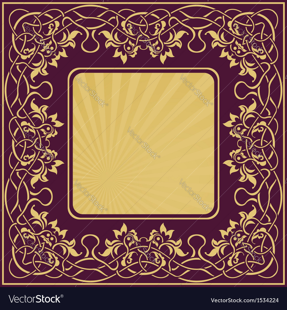 Gold vintage frame with floral ornamental border vector image jeuxipadfo Gallery