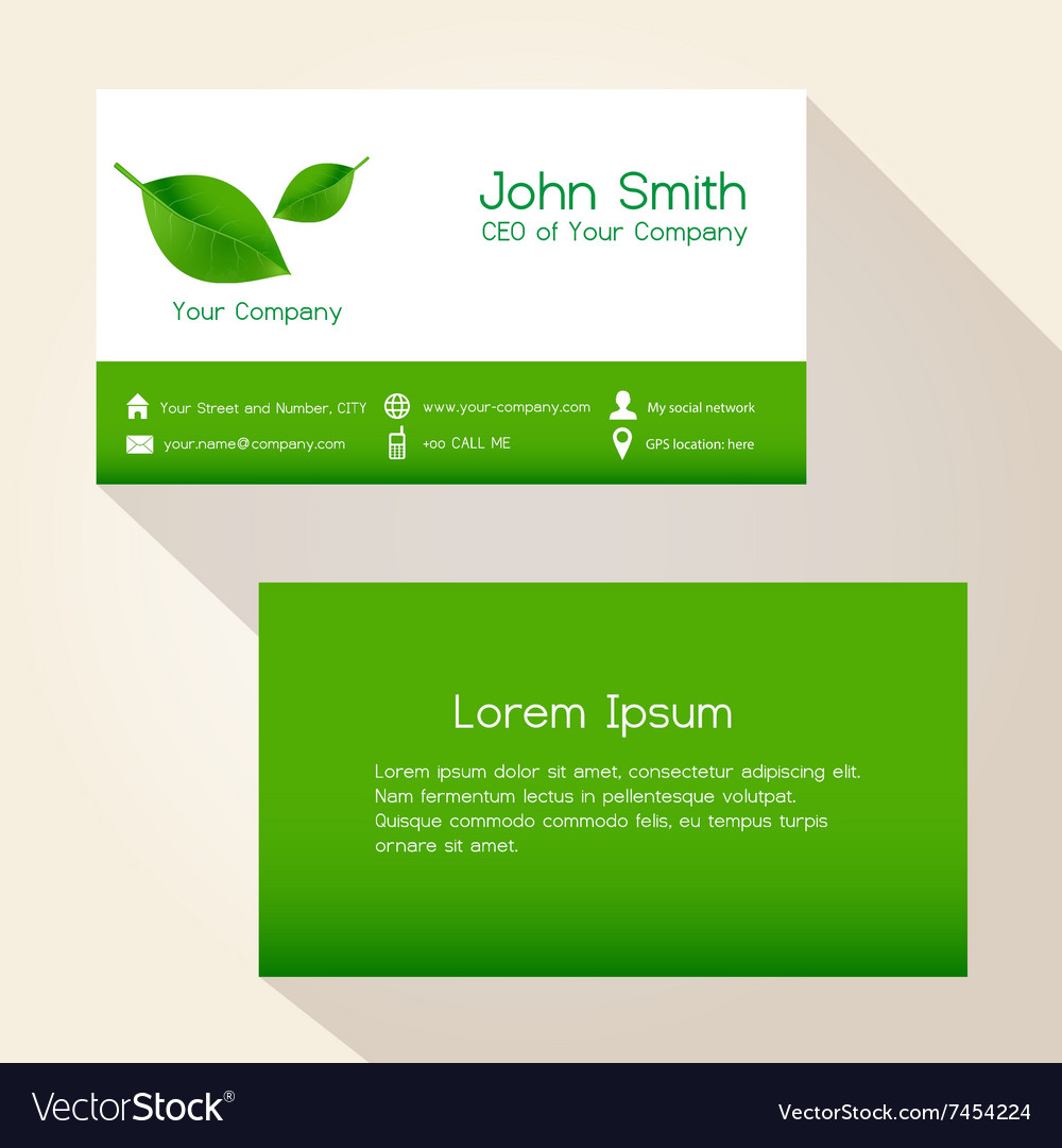 Simple nature green leaf business card design Vector Image