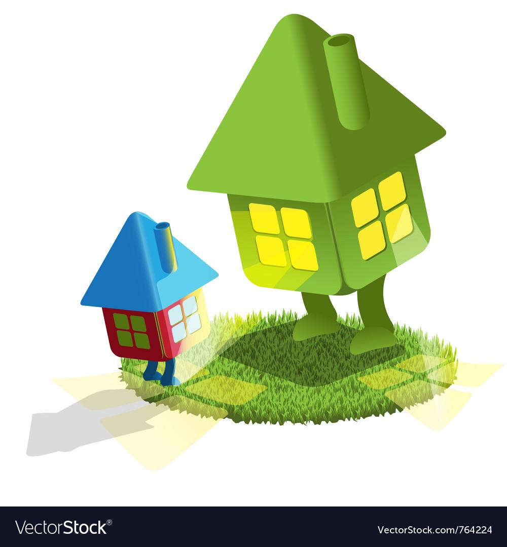 Small Lodge Looks At Big House Royalty Free Vector Image - Big cartoon house