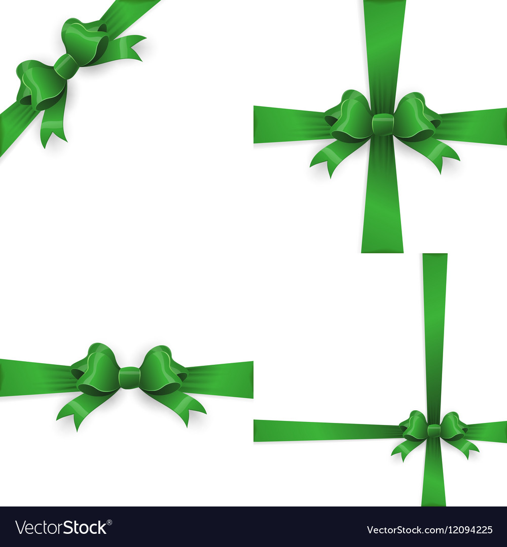 Green realistic double gift bow EPS 10 vector image