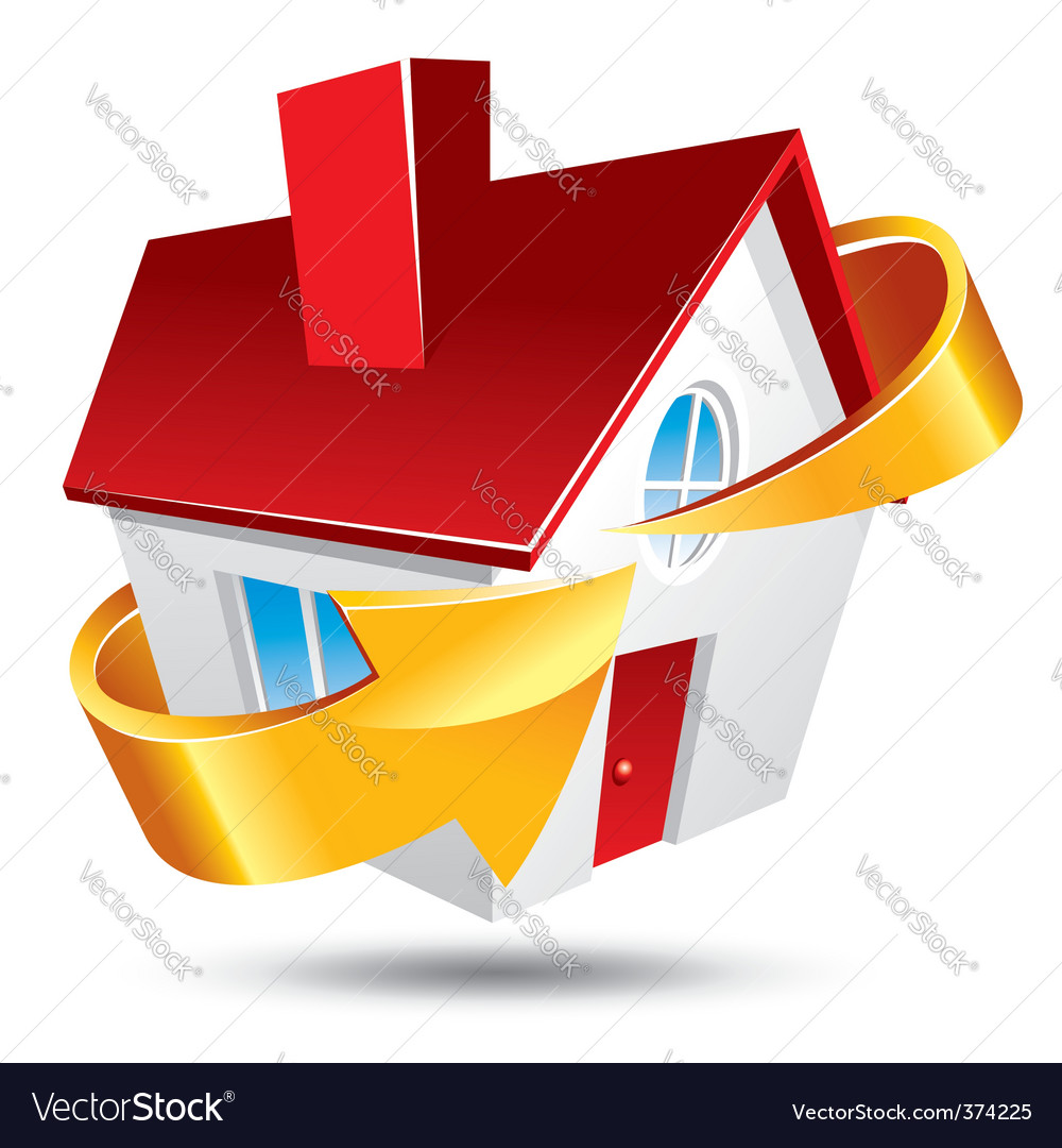 House and arrow vector image