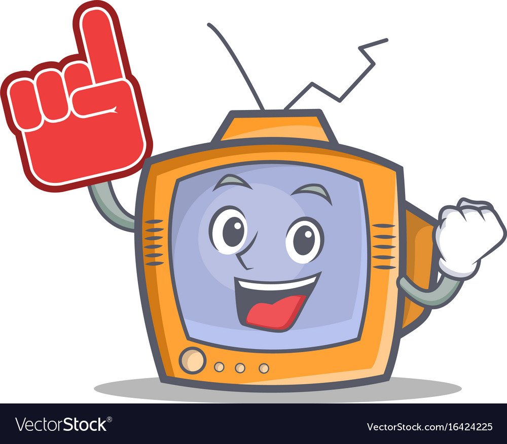 Tv character cartoon object with foam finger vector image