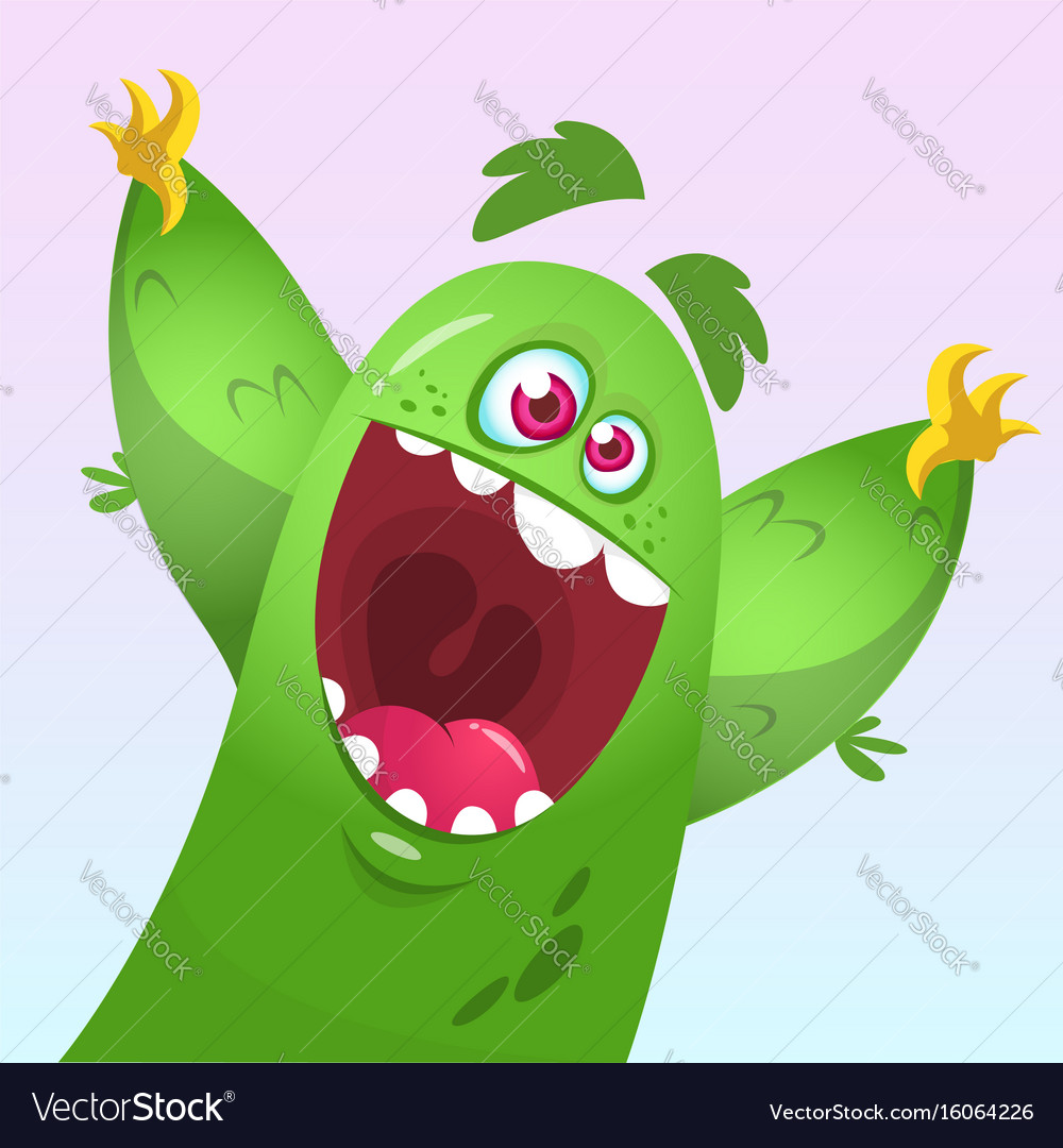 Cartoon green fluffy monster vector image