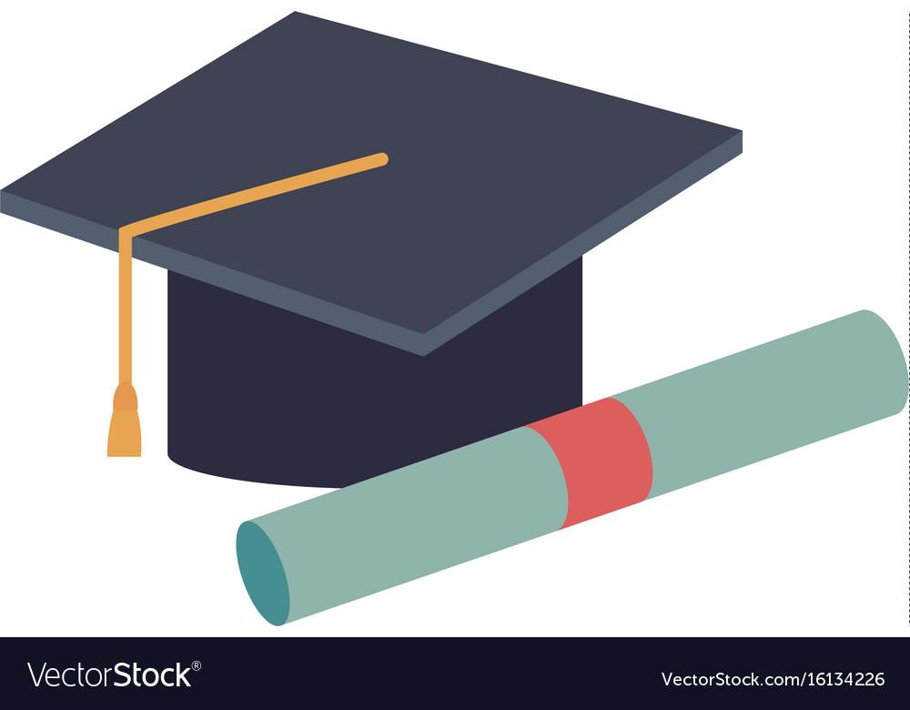 graduation cap diploma certificate school vector image