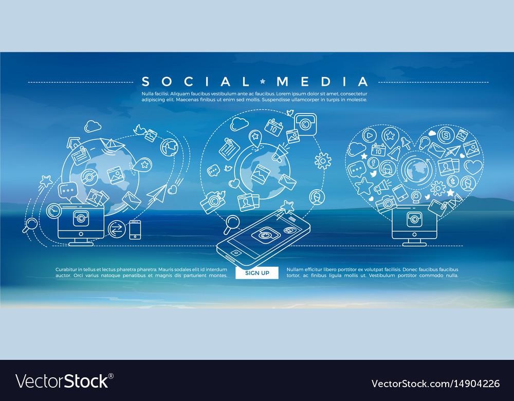 Social media blue linear vector image