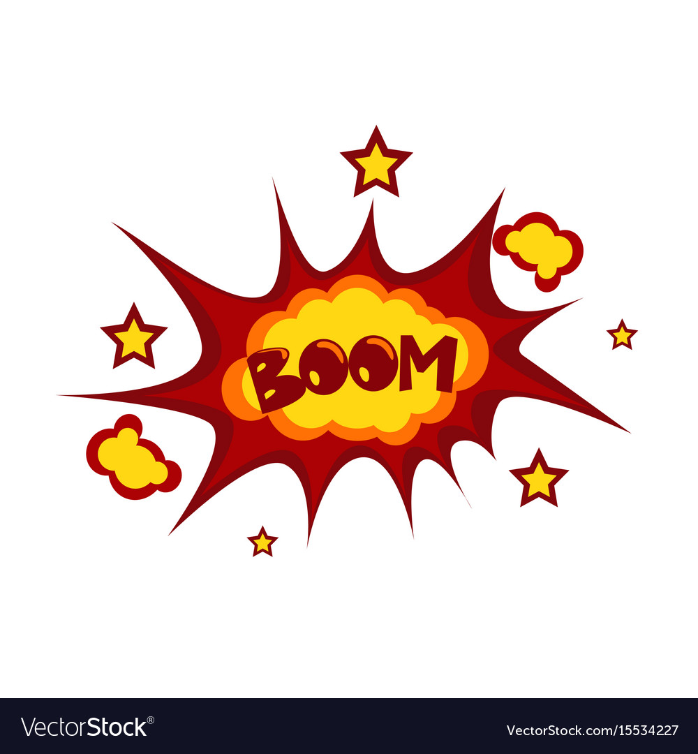 Boom sticker chat message label icon colorful vector image