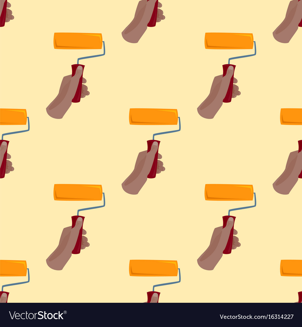 Hand with paint roller construction tool vector image