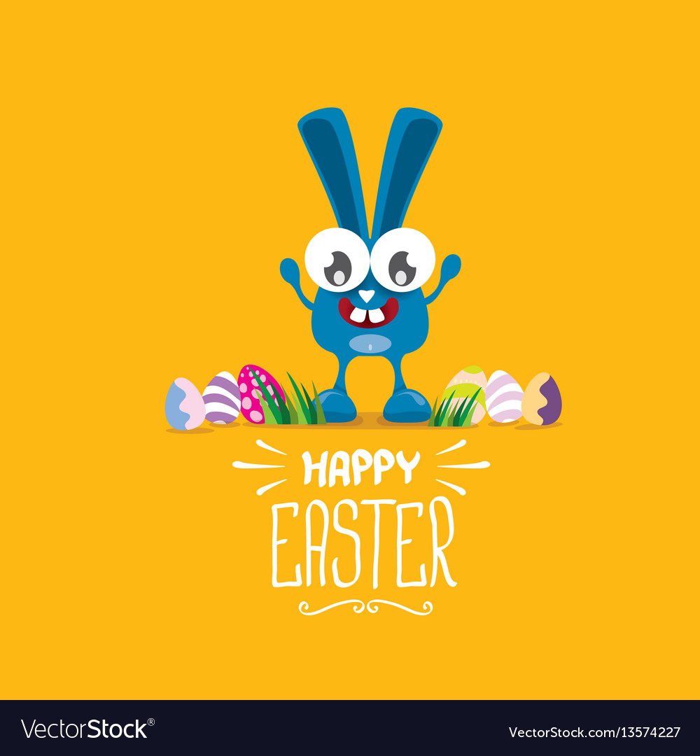 Happy easter greeting card with funny bunny vector image kristyandbryce Choice Image