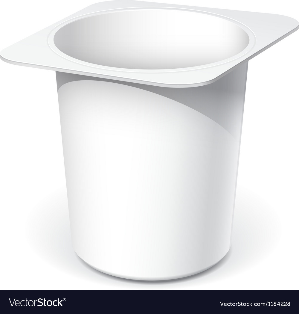 White plastic container for yogurt vector image