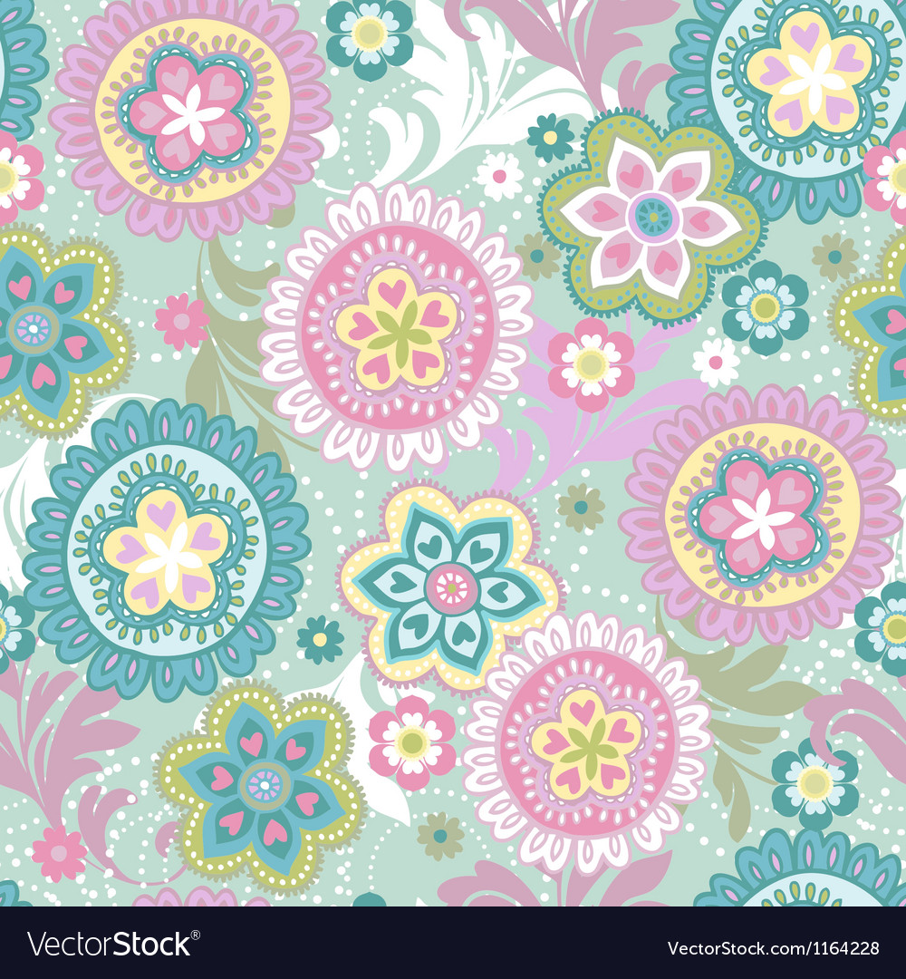 Ethnic flowers vintage vector image