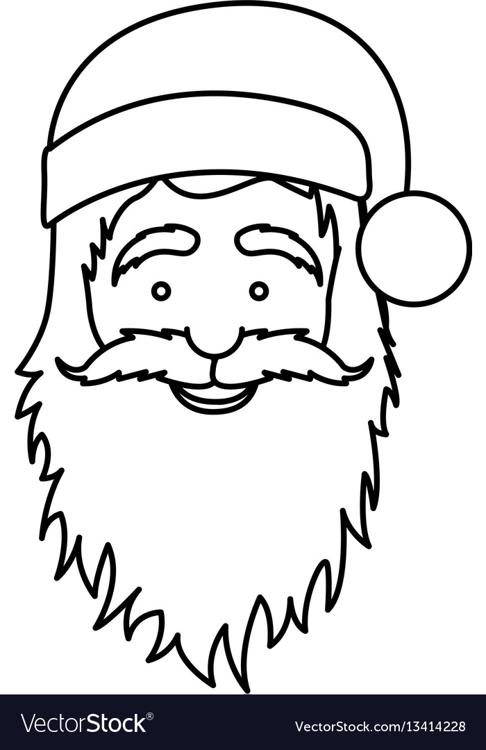 Silhouette face cartoon santa claus portrait icon vector image