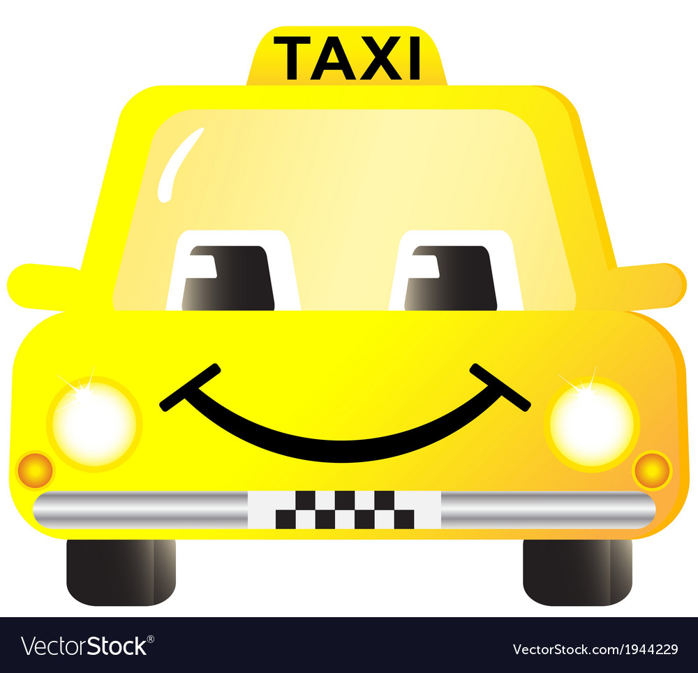 Cartoon smiling taxi car vector image