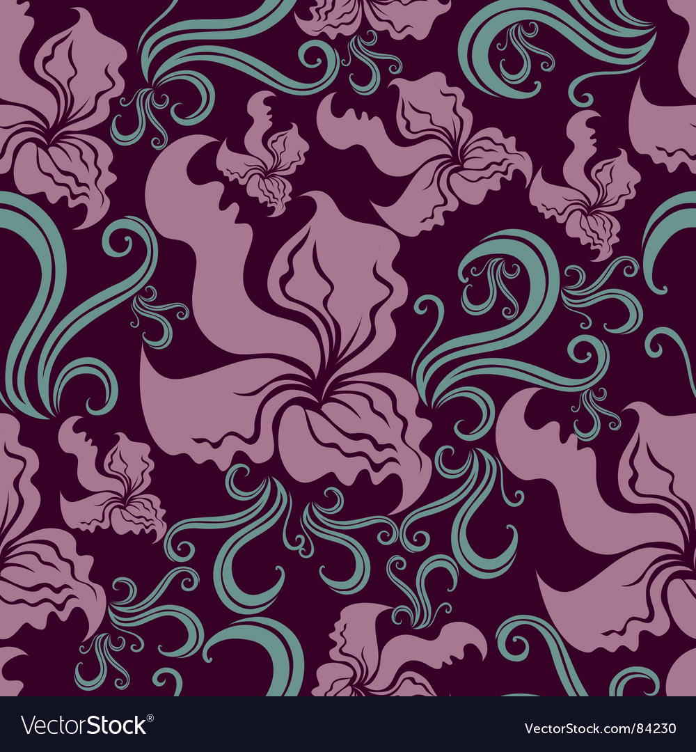 Seamless vintage grunge floral pattern with o vector image