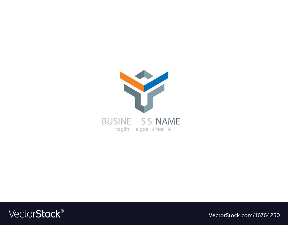 Shape geometry logo design vector image