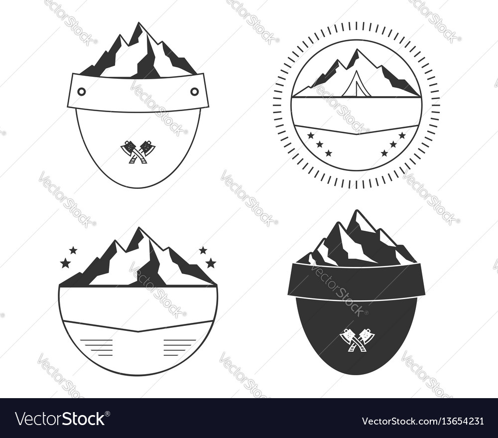 Set of silhouette badge shapes simple shield vector image