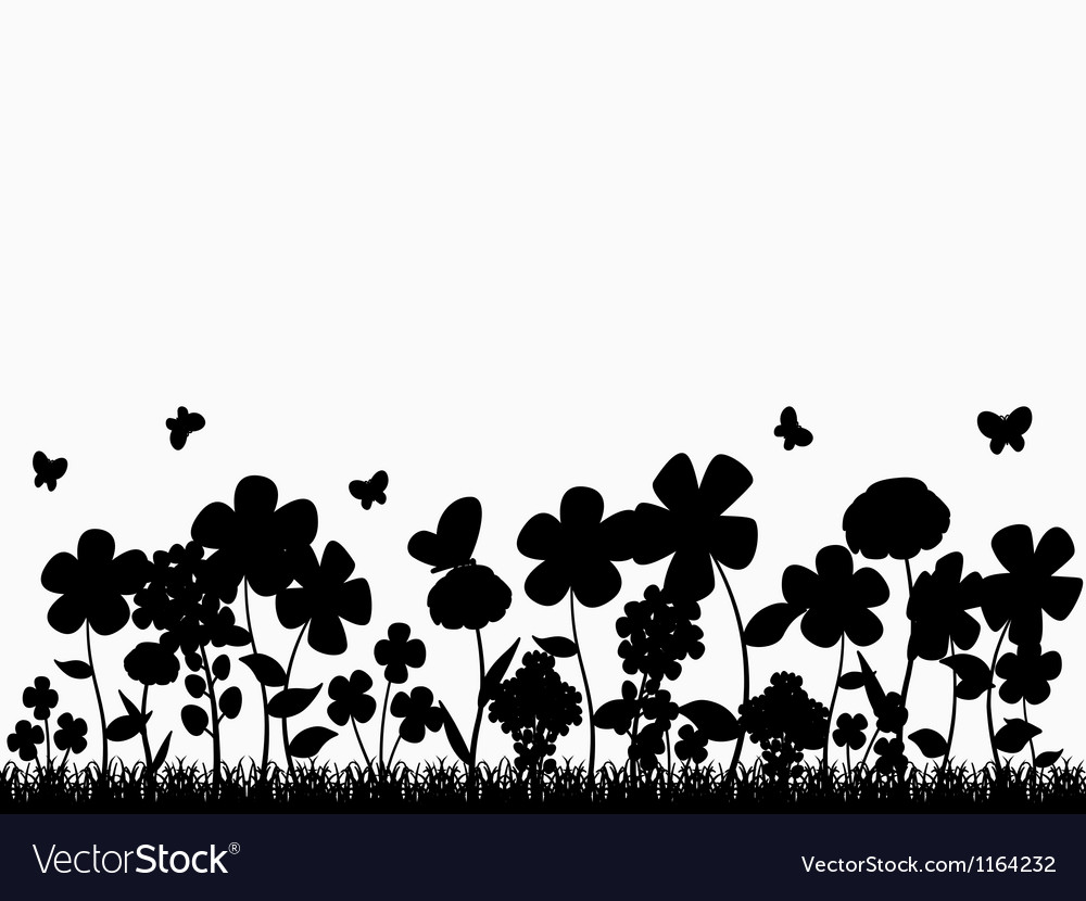 Flower Glade Silhouette vector image