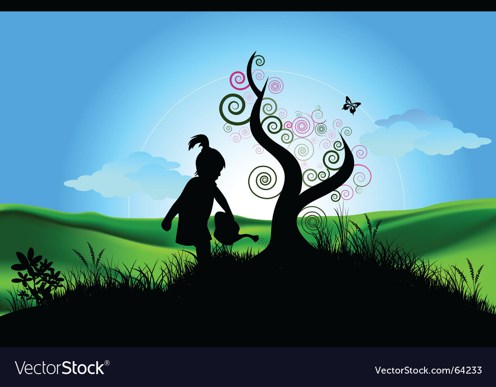 Girl watering vector image