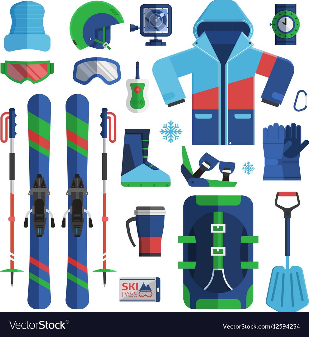 Mountain Skiing Equipment Set vector image