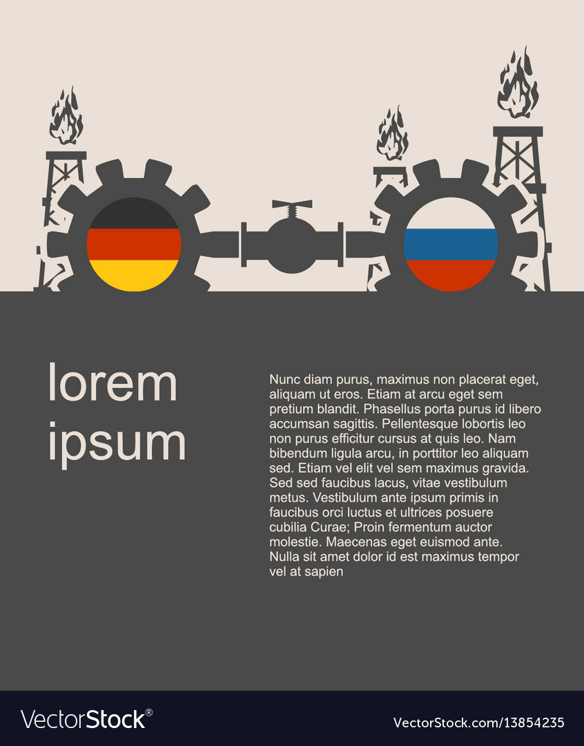 Russia and germany flags on gears vector image