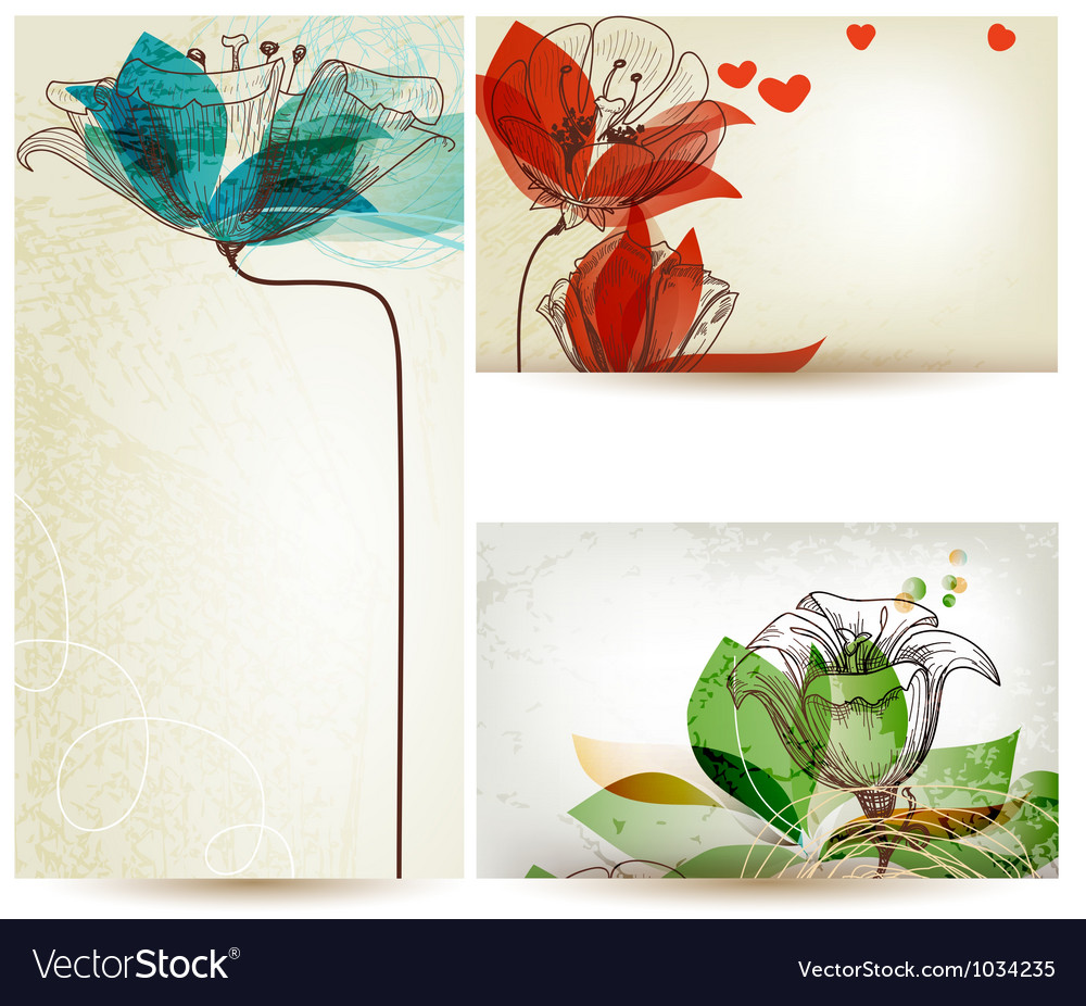 Vintage floral backgrounds vector image