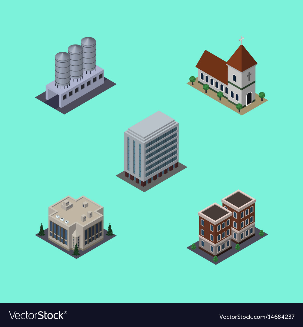 Isometric architecture set of office company vector image