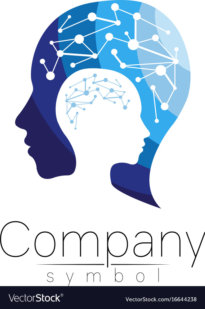 Symbol of human head profile face blue vector image