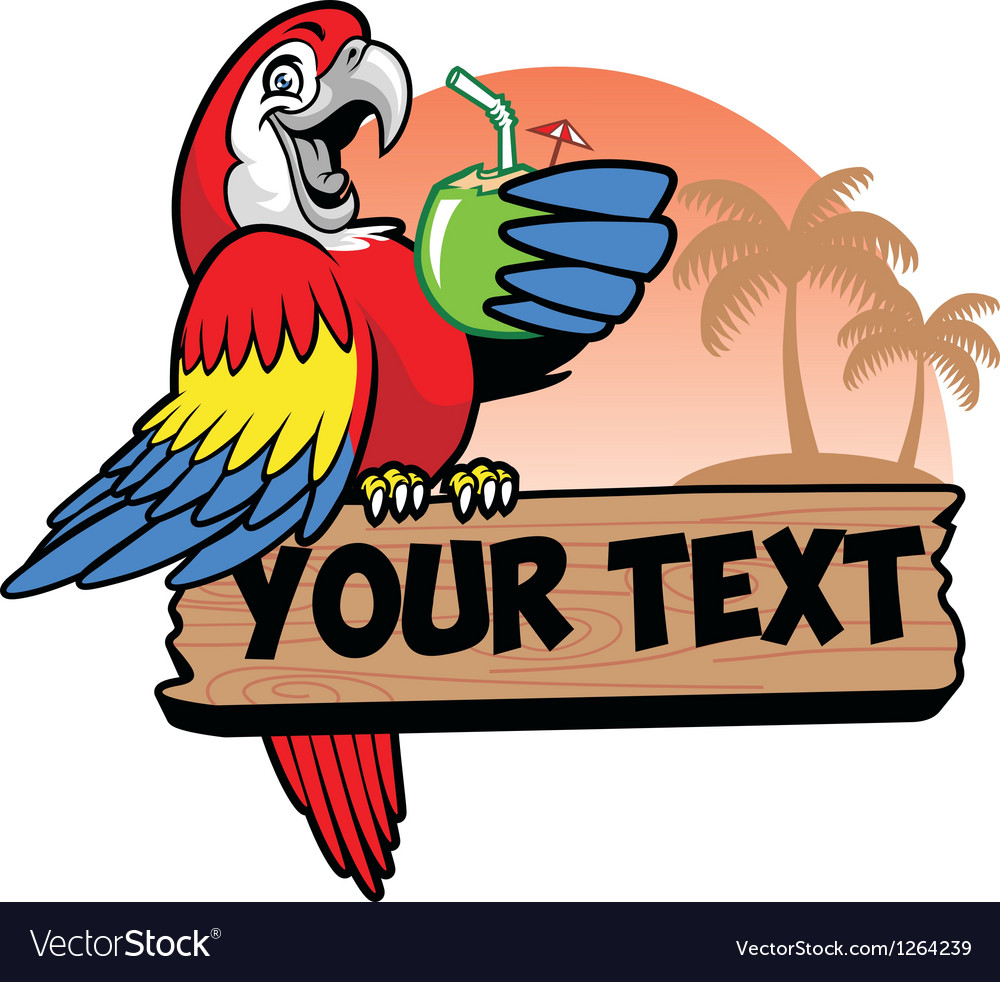 Parrot drink a coconut water grip the text space vector image