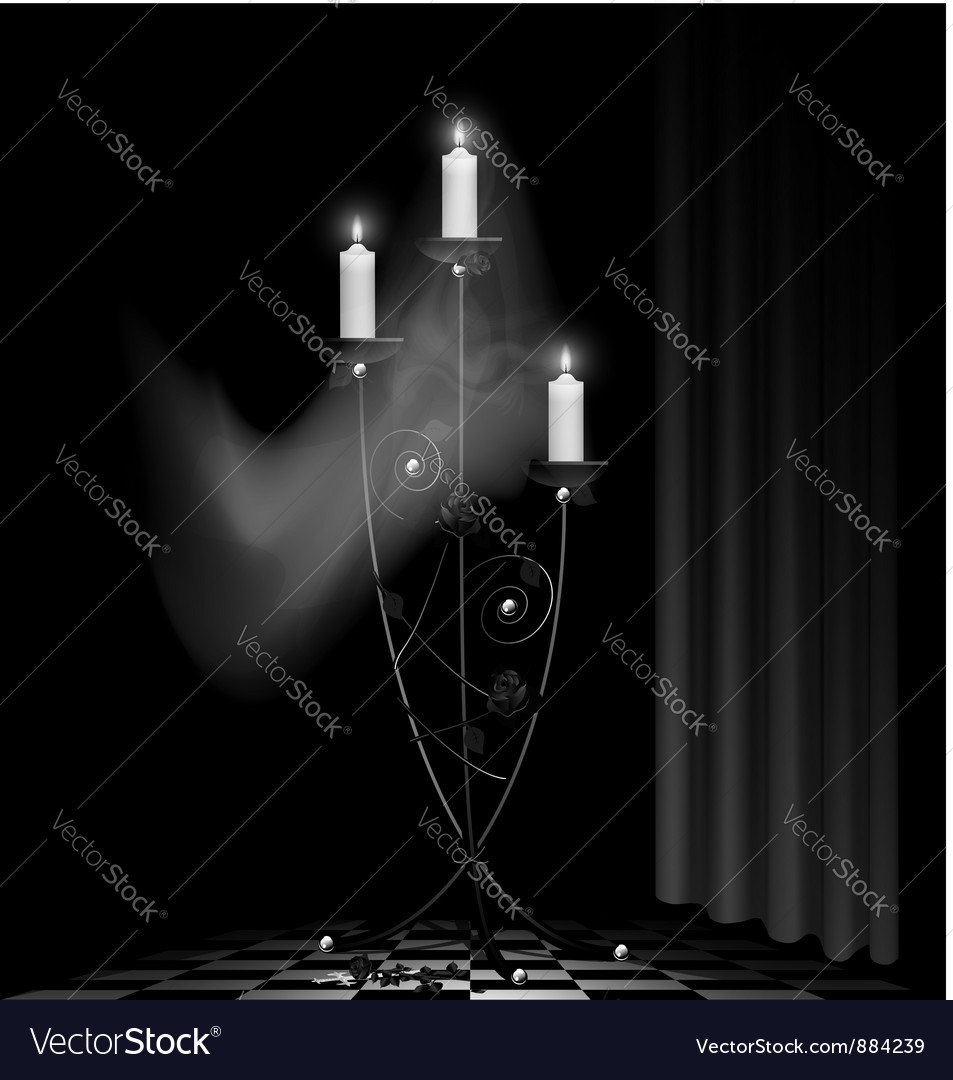Black chandelier and ghost vector image