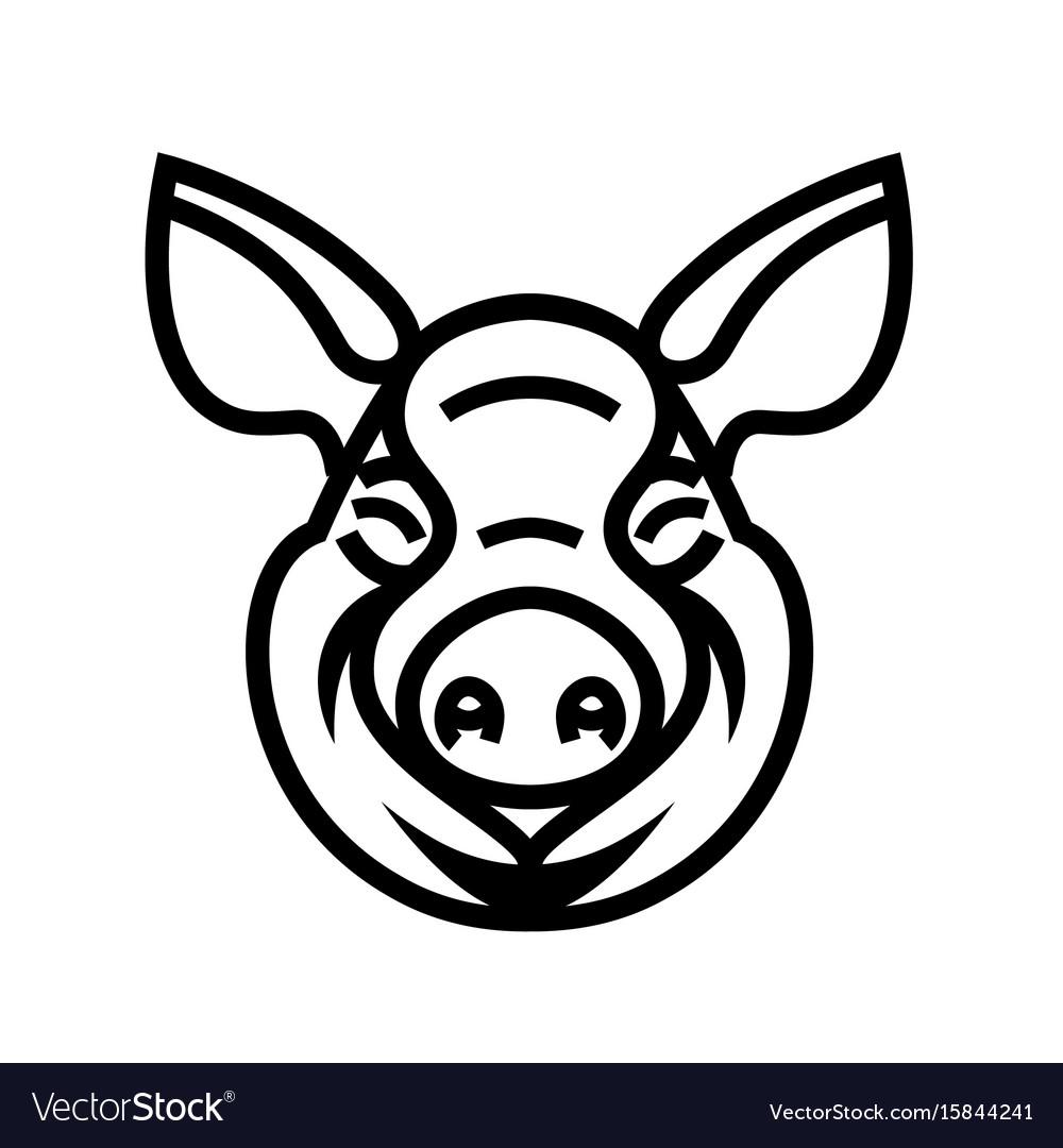 Pig head logo mascot emblem vector image