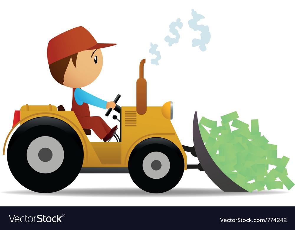 Cartoon bulldozer vector image