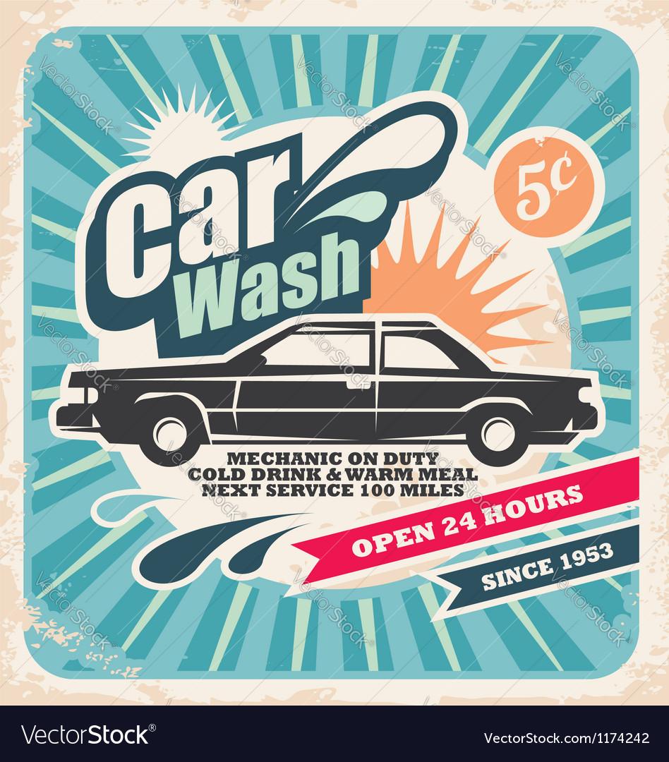Retro car wash poster vector image