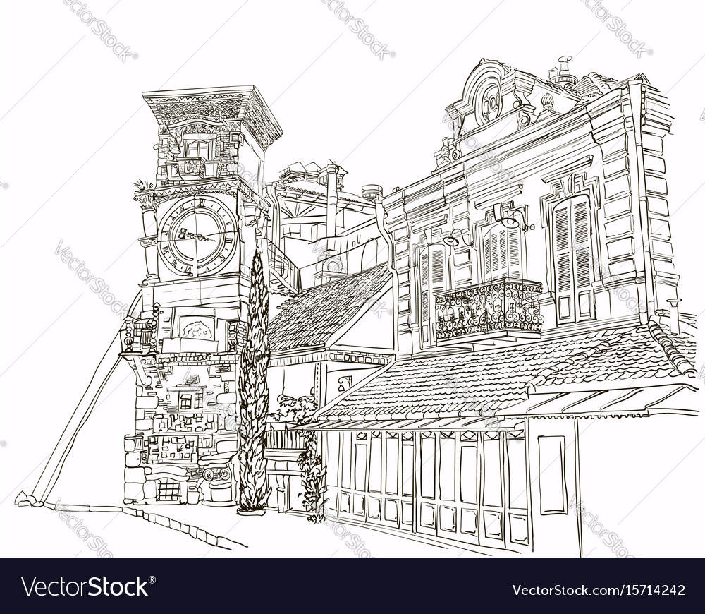 tbilisi georgia a sketch of a curve tower with a vector image