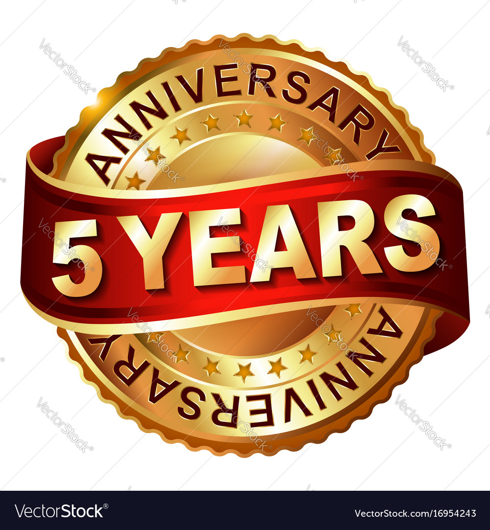 5 years anniversary golden label with ribbon vector image biocorpaavc Choice Image