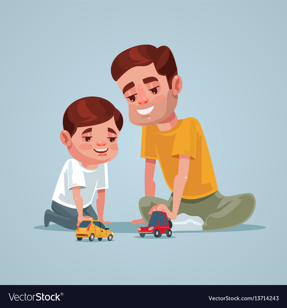 Father and son character play toy vector image