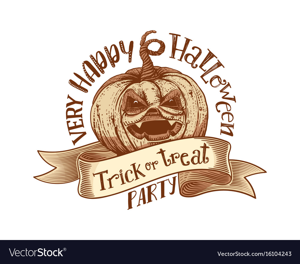 Trick or treat retro happy halloween party vector image