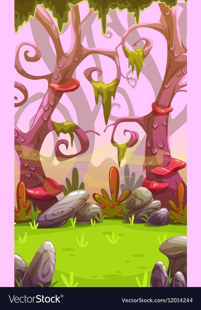 Fantasy cartoon forest landscape vector image
