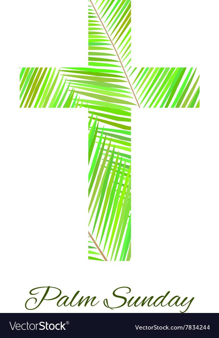 Palm Sunday cross isolated on white background vector image