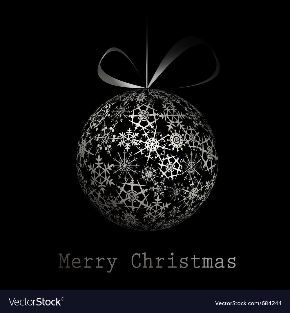 Silver merry christmas postcard vector image
