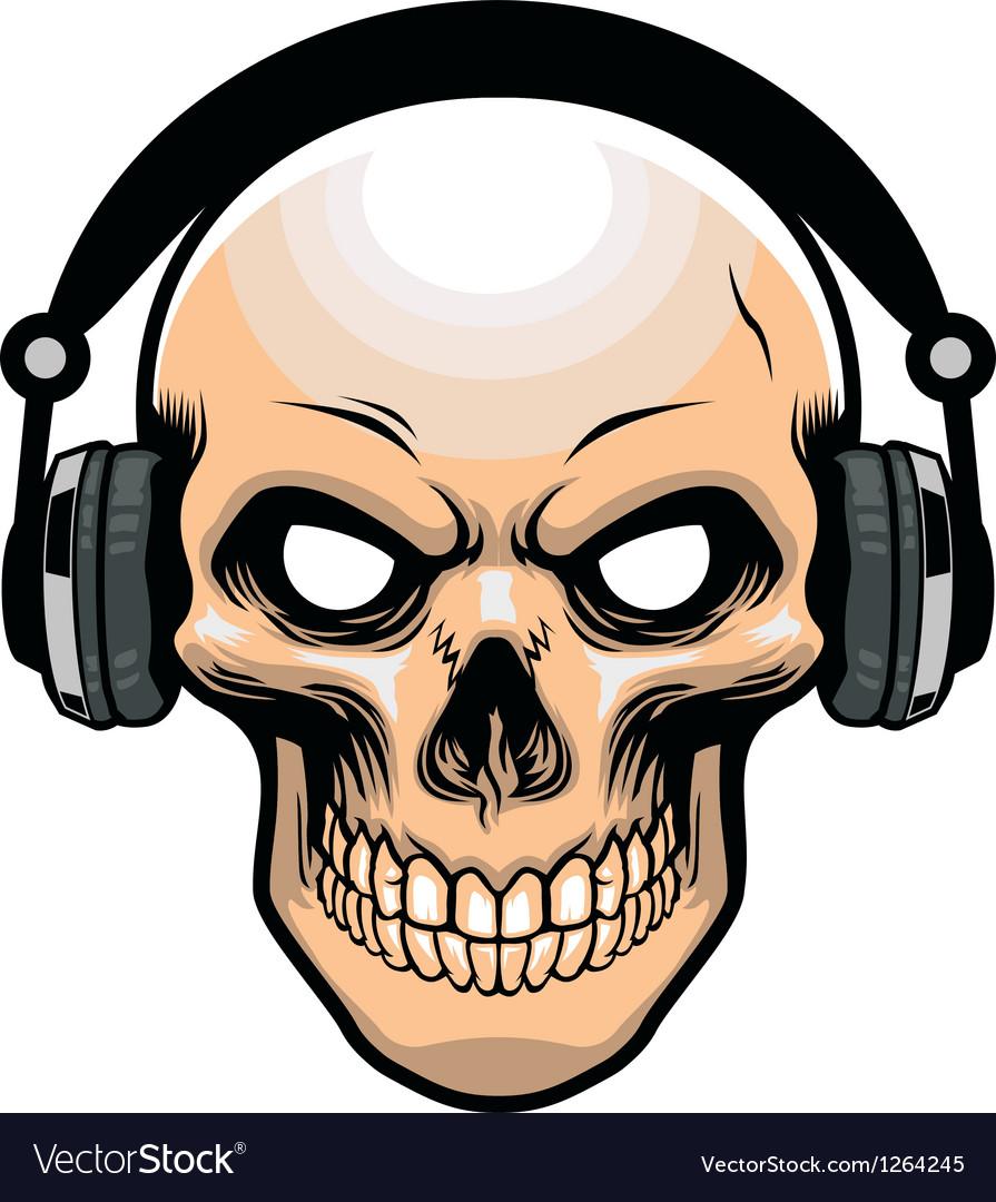 Skull wearing headphone vector image