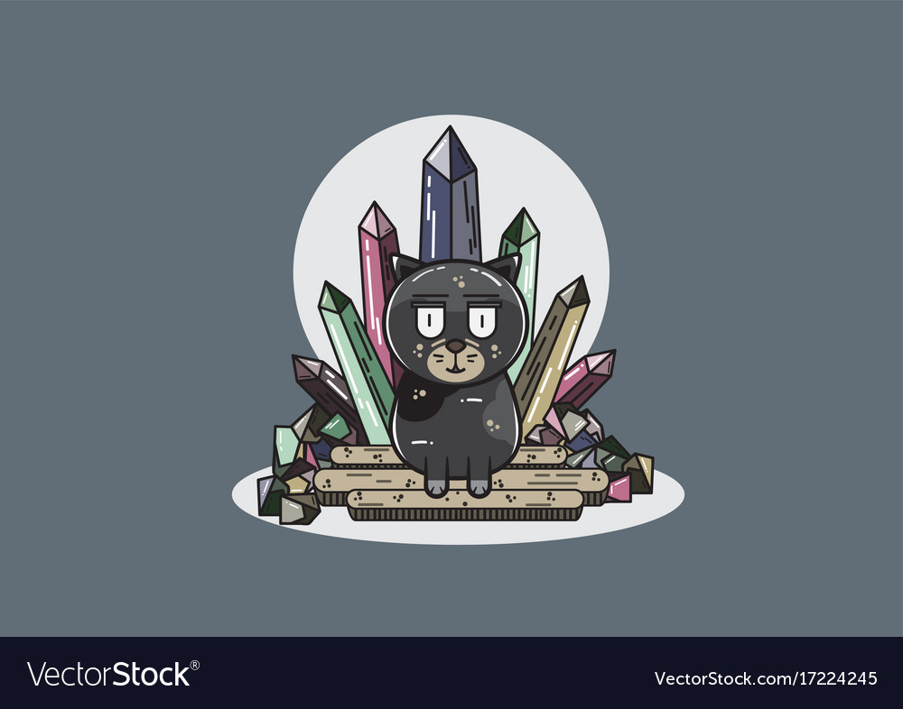 Black cat with crystals vector image