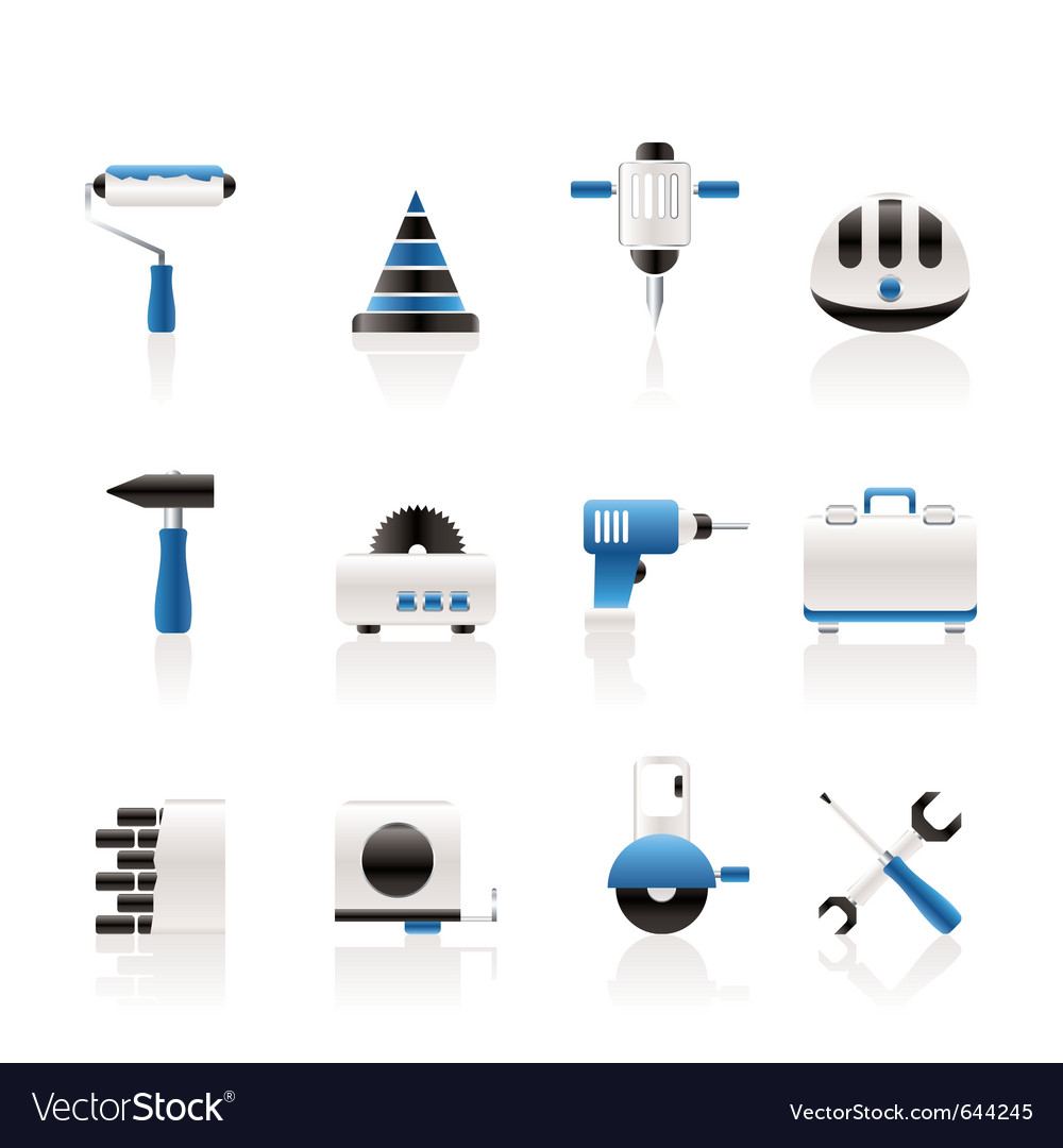 building and construction tools icons royalty free vector