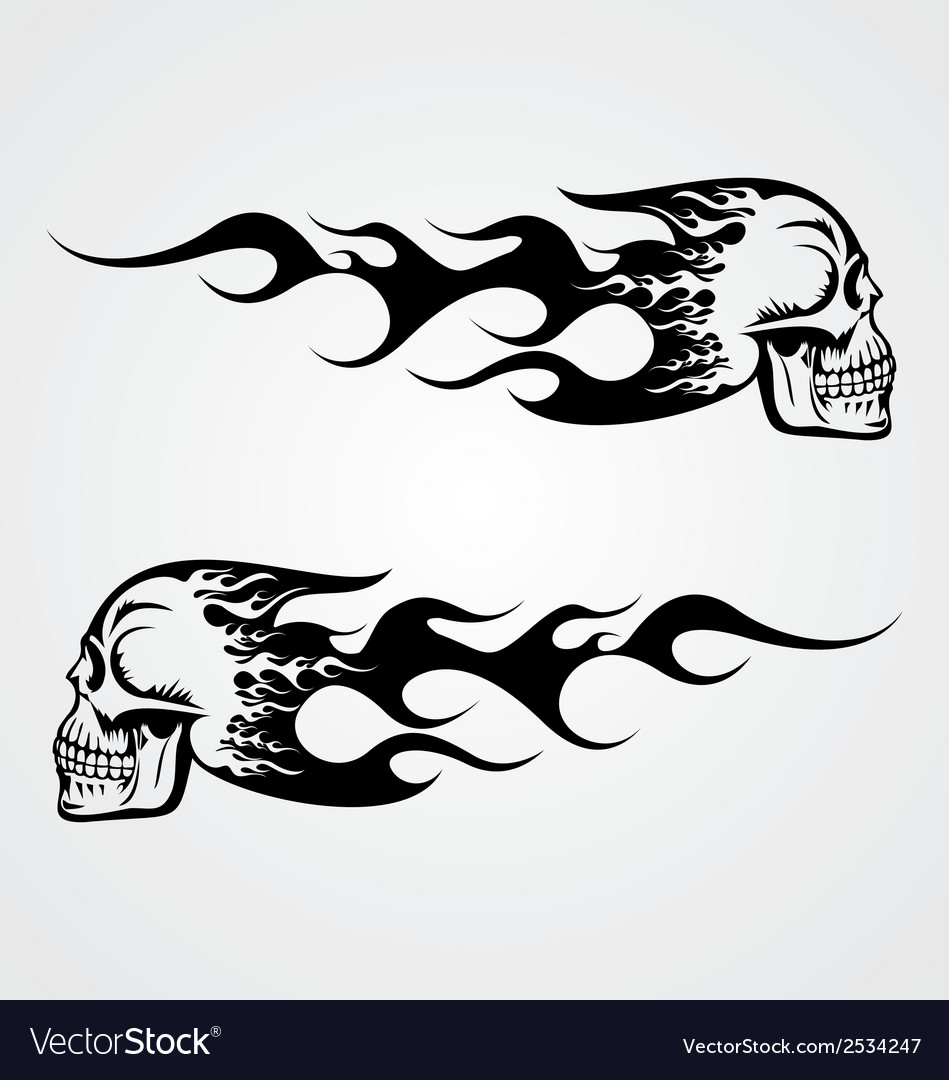 Flaming Skull Tattoo vector image