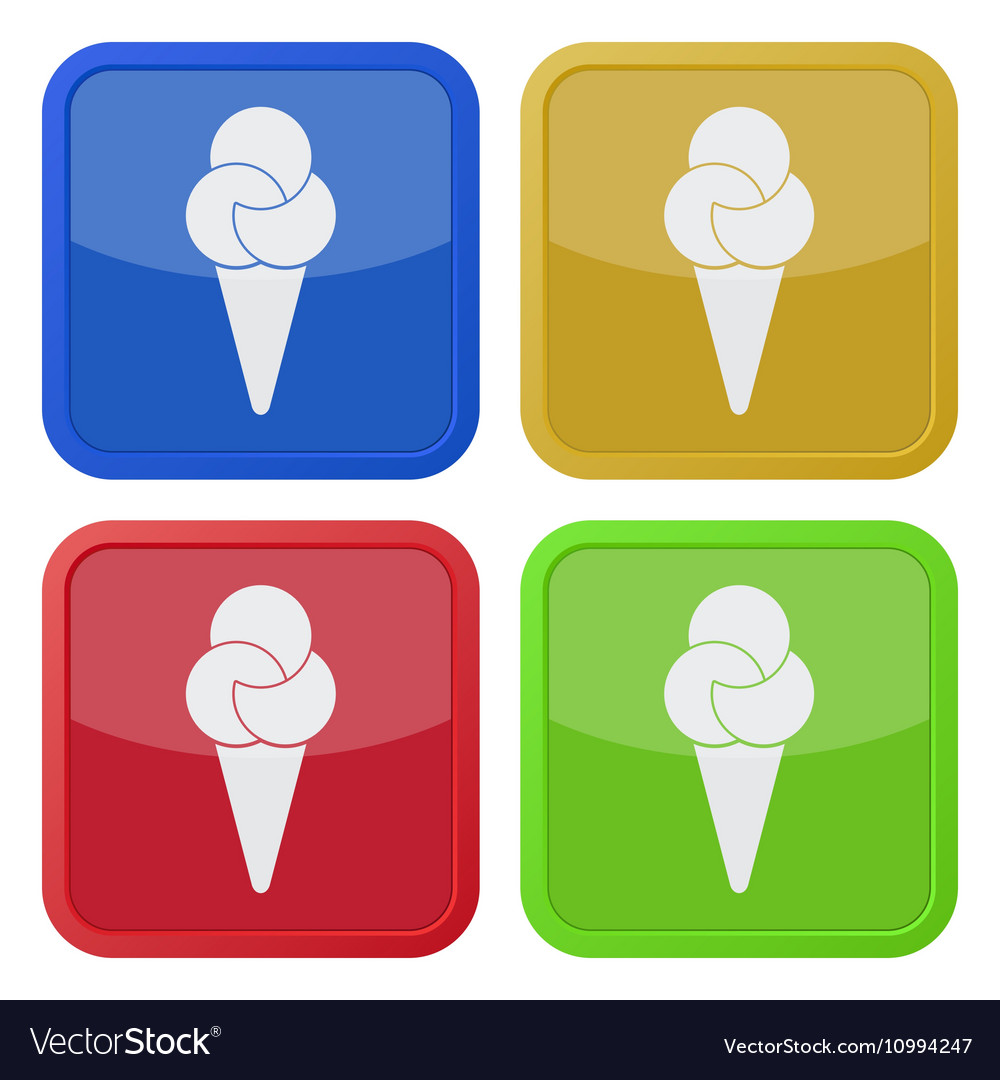 Set of four square icons with ice cream vector image