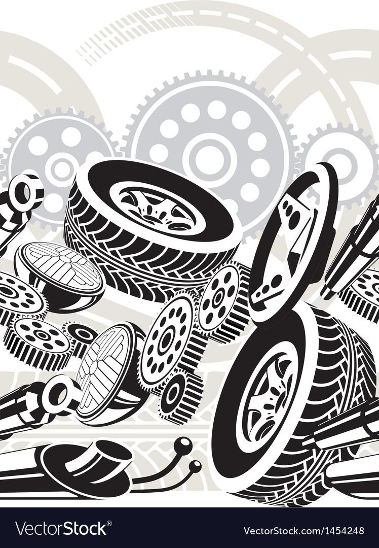 Car parts seamless pattern vector image
