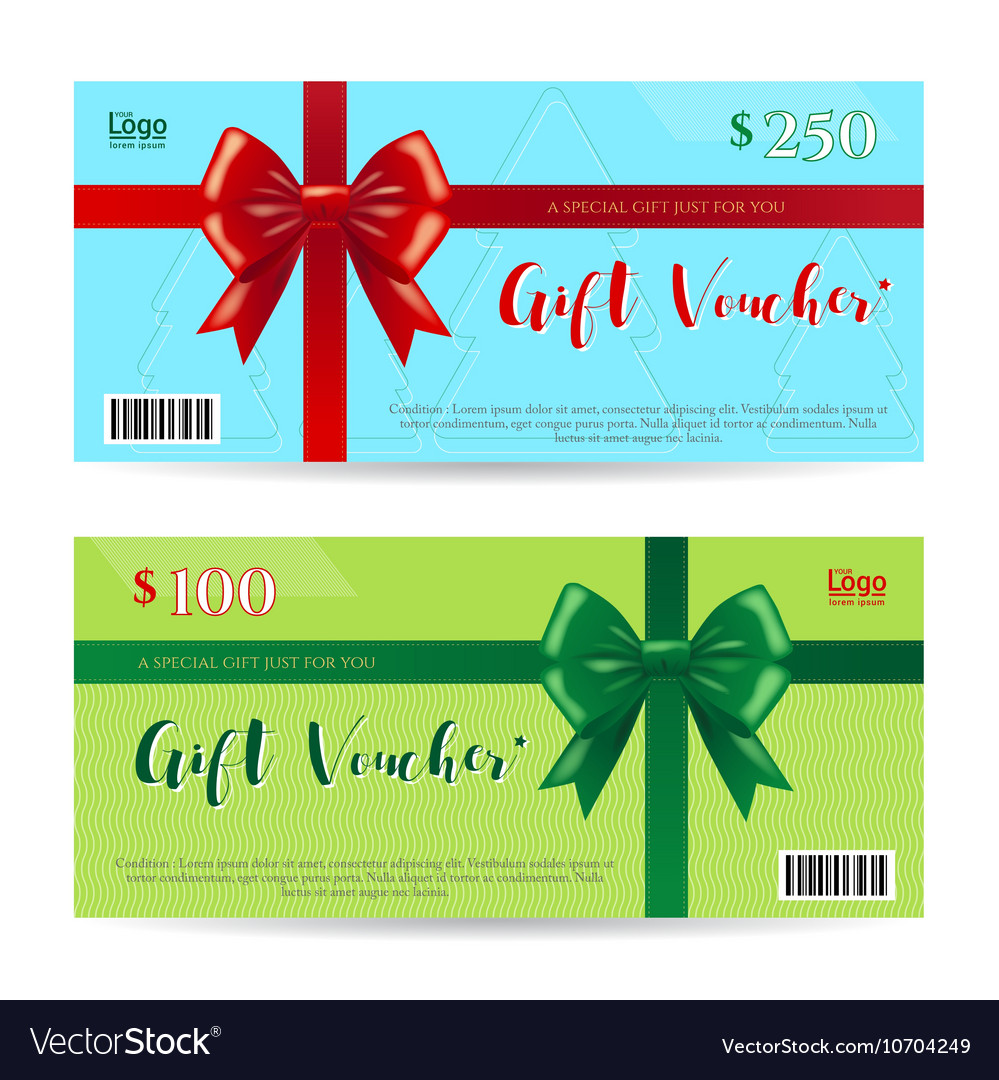 Christmas Gift Card Or Gift Voucher Template Vector Image  Christmas Gift Vouchers Templates