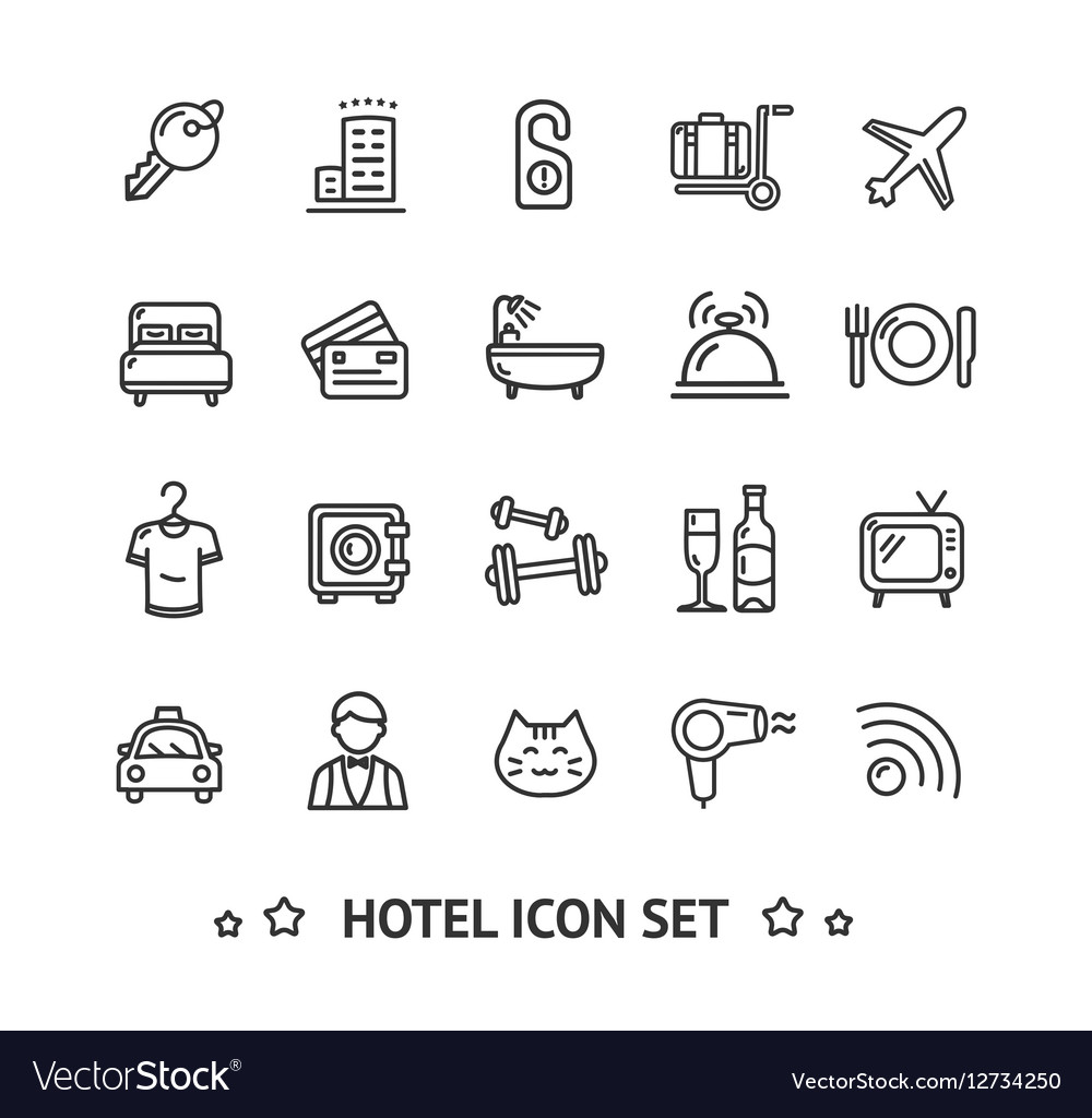 Hotel Icon Thin Line Set vector image
