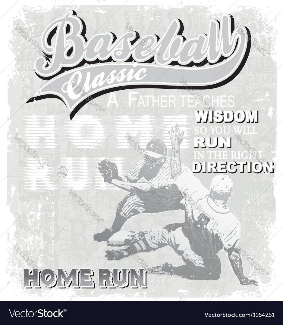 Baseball home run classic vector image