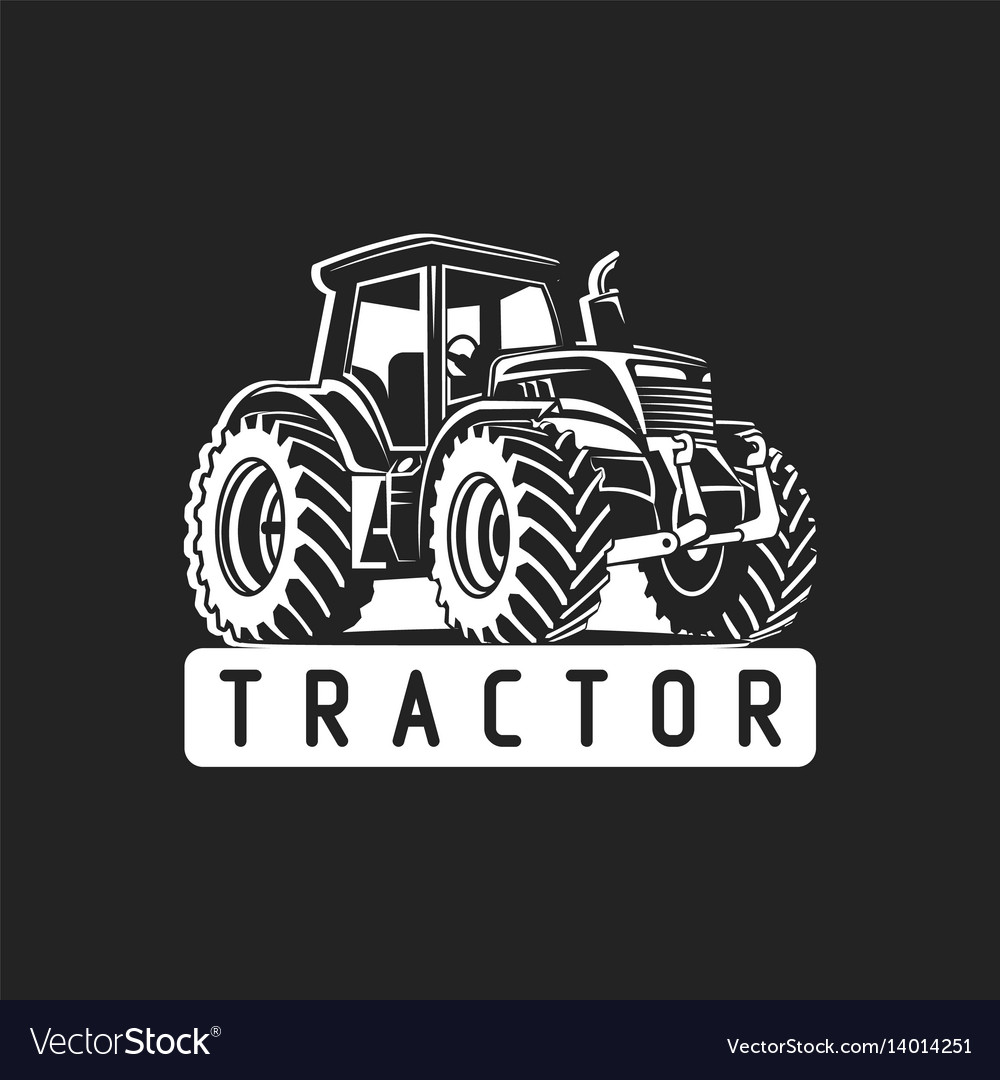 White tractor on black background vector image