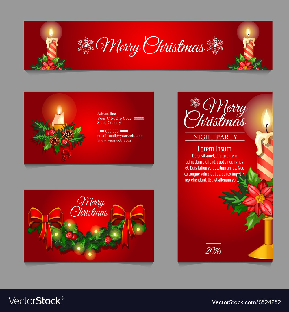 Different red cards with christmas burning candles different red cards with christmas burning candles vector image kristyandbryce Images
