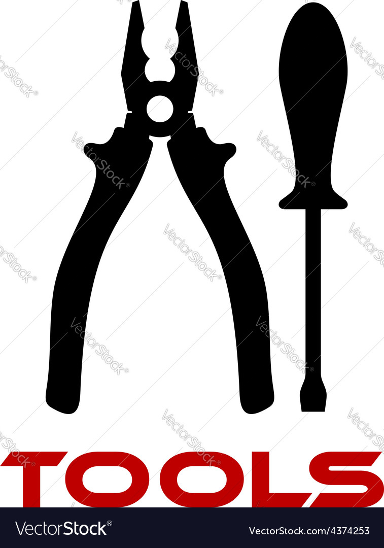 Pliers and screwdriver black silhouettes vector image